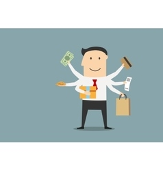 Cartoon happy businessman after shopping vector