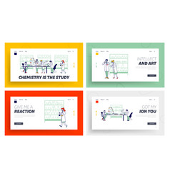 Chemistry scientists work in lab landing page vector