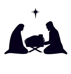Christmas story mary joseph and baby jesus vector