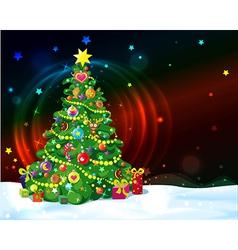 christmas tree with shining lights and stars vector image