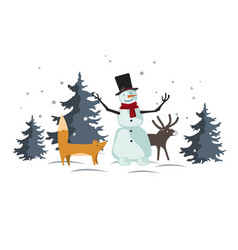 christmas with funny cartoon forest animals vector image