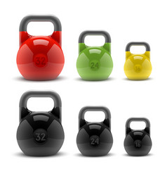 Collection of realistic classic kettlebells vector
