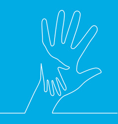 continuous one line icon helping hands vector image