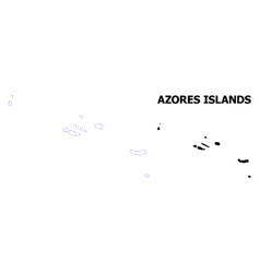 Contour dotted map azores islands vector