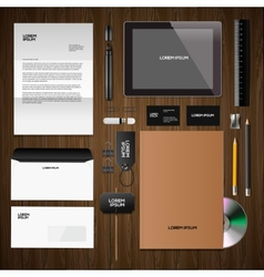 Corporate identity mock-up classic style wooden vector