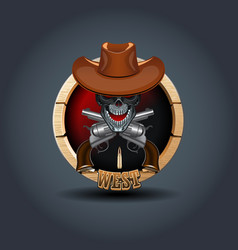 Cowboy skull wooden rounded badge icon for uigame vector