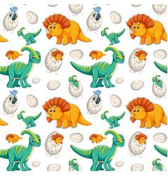Cute dinosaur seamless background vector