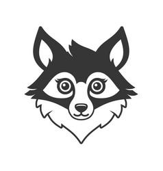 cute fox face cartoon style logo on white vector image