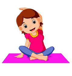 cute pregnant woman character doing yoga vector image