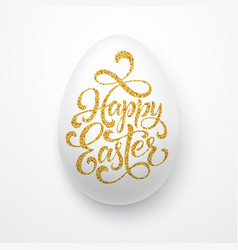 Easter egg with holiday greeting golden lettering vector