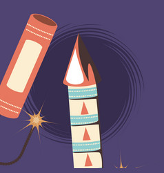 firework rocket design vector image