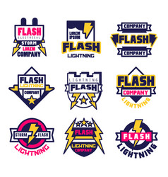 Flash electrical storm company logo design vector