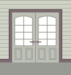 Flat Design Wooden Double Doors vector