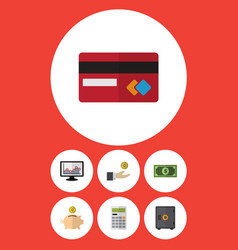 Flat icon gain set of payment greenback vector