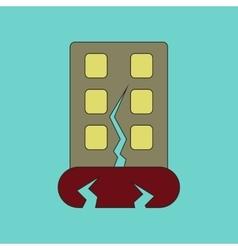 Flat icon stylish background earthquake house vector