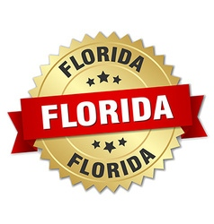 Florida round golden badge with red ribbon vector