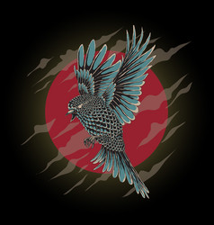 flying bird with hand drawn style vector image