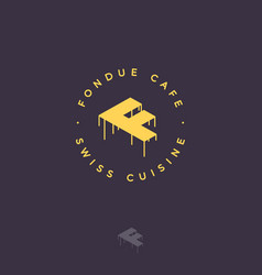 Fondue cafe logo f monogram cheese letter swiss vector
