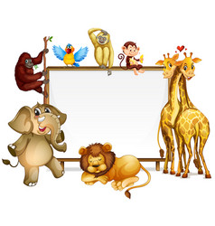 Frame template with many wild animals vector