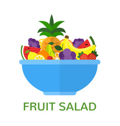 fresh fruit salad in blue bowl isolated on white vector image