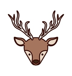 Front face christmas reindeer with shadow vector