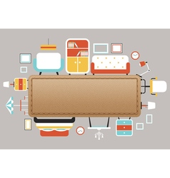 Furniture Flat Icons with Leather Copy Space vector