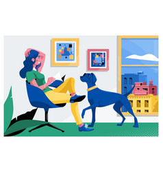 girl reading a book and dog sitting on the vector image