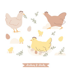 hand-drawn easter collection with chickens vector image