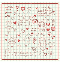 Hand drawn romantic set vector image