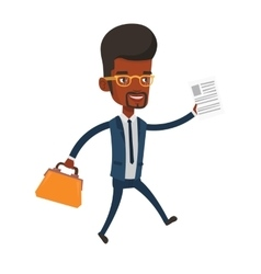 Happy businessman running vector