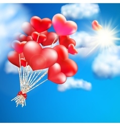 Heart-shaped baloon in sky eps 10 vector