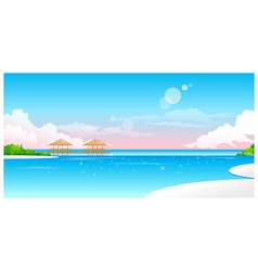 Idyllic Beach with jetty vector