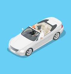 Isometric arab couple ride in cabriolet car vector