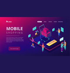 isometric mobile shopping and buying landing page vector image