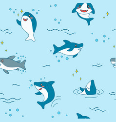 kawaii shark seamless pattern cute funny sharks vector image