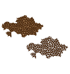 Kazakhstan - map of coffee bean vector