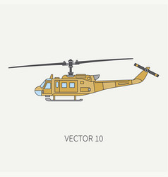 line flat color icon military turboprop vector image