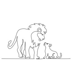Lion standing with small cub continuous one vector