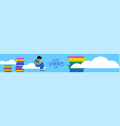 Literacy day web banner kid reading book in sky vector