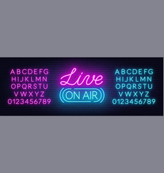 live on air neon sign on a brick wall background vector image