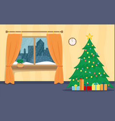 living room decorated for the new year christmas vector image