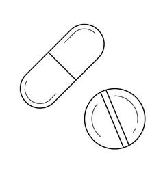 Medication pills line icon vector