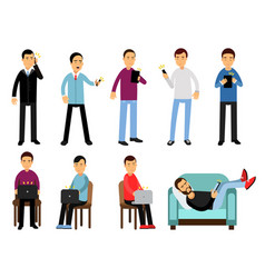 men with different devices set people using vector image