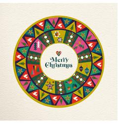 Merry christmas vintage folk decoration art card vector