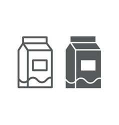 milk line and glyph icon drink food milk pack vector image