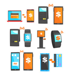 mobile payment and other payment methods set for vector image