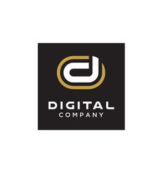 modern initial letter d digital logo design vector image