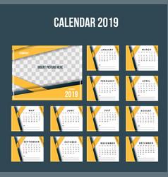 Modern orange corporate desk calendar 2019 vector