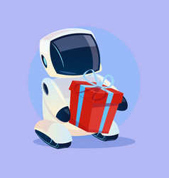 Modern robot hold gift box futuristic artificial vector