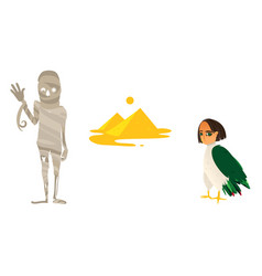 Mummy great pyramids and harpy symbols of egypt vector
